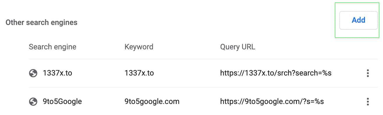 Add new search engine button.