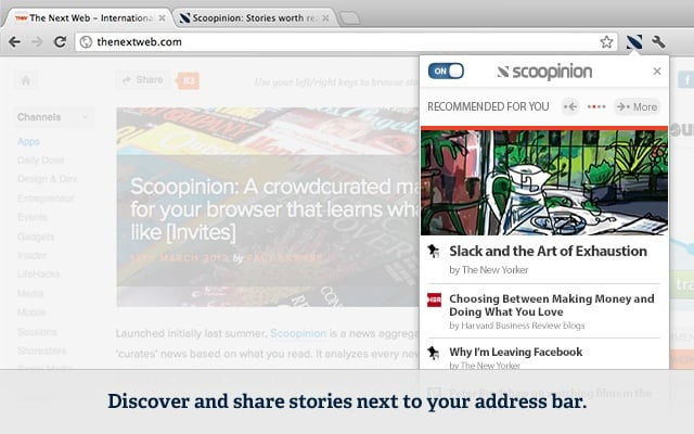 chrome extensions  Scoopinion Recommends Articles Based on Your Reading Habits and Browser History