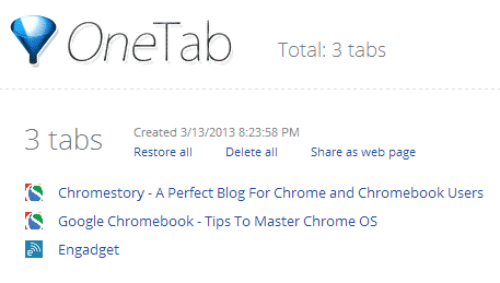 chrome extensions  OneTab Saves Memory By Reducing Opens Tabs In To A List Temporarily