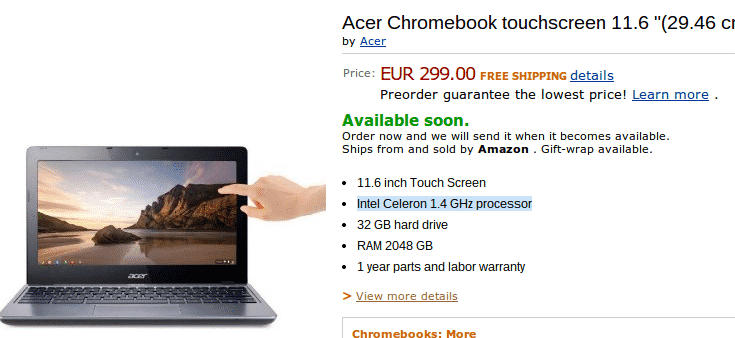 chromebook  Amazon France Leaks Acers Touchscreen Chromebook with Full Specs and Price