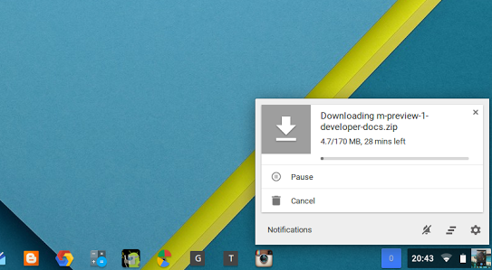 Chrome OS Download Status Bar Redesigned As a Card In The