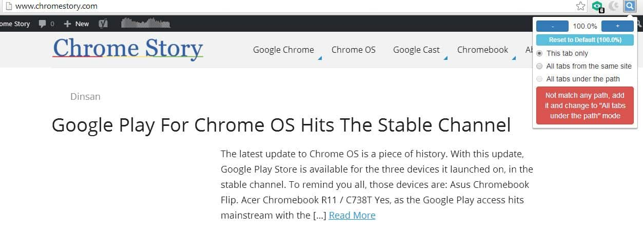 W Zoom - Chrome Extension for Per-Tab Zooming - Chrome Story