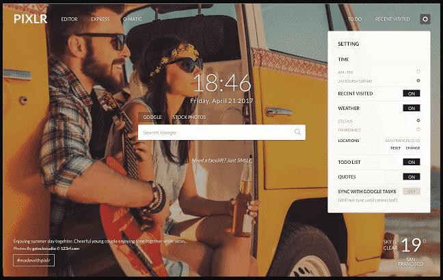 Pixlr New Tab Chrome Extension