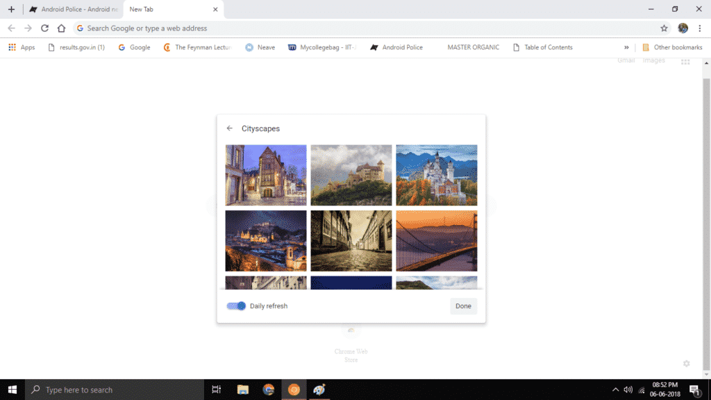 chrome s new tab page background picker is live for some users