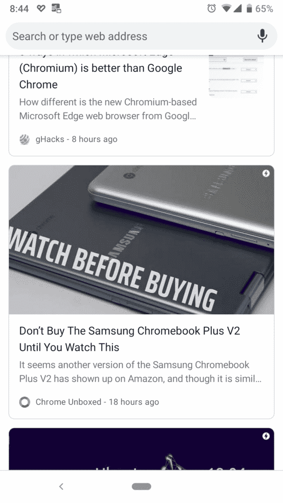Snippets and Featured Images on Chrome for Android NTP