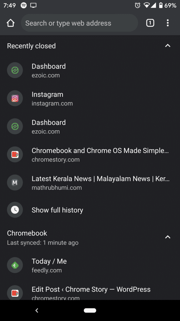 Recently closed tabs from Chrome for Android