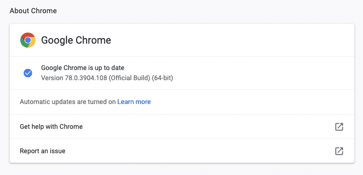 Chrome checks for updates